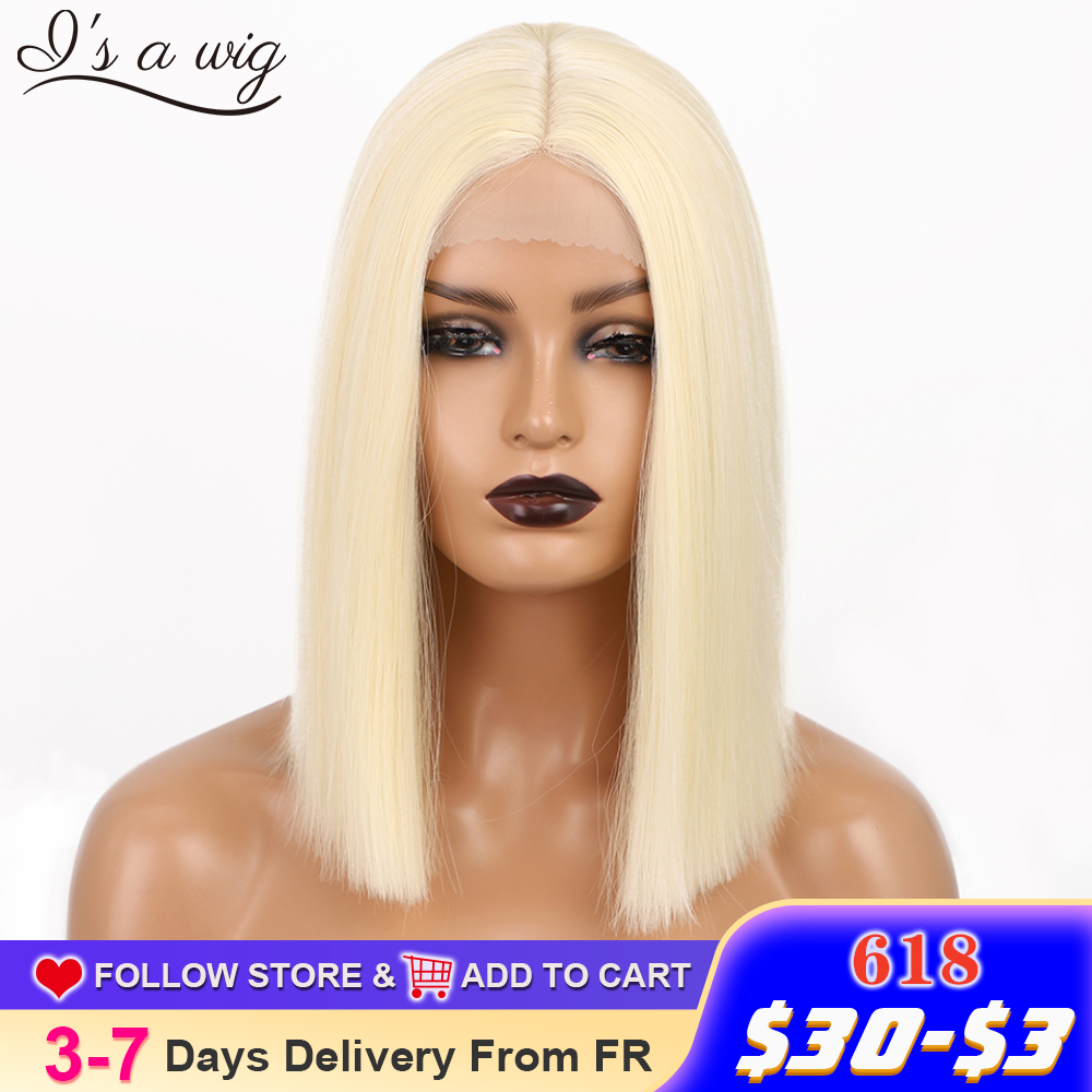 I's a wig Synthetic Blonde Wigs 613 Color Short Straight Bob Wigs for Women Middle Part Nature Black Red Brown Daily Use Hairs