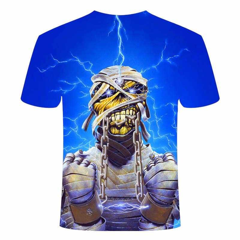 夏のホット販売金属 Tシャツロックバンド 3d tシャツ夏ホラー tシャツ 3d 男性ファッション tシャツストリートヒップホップスタイルトップス & Tシャツ