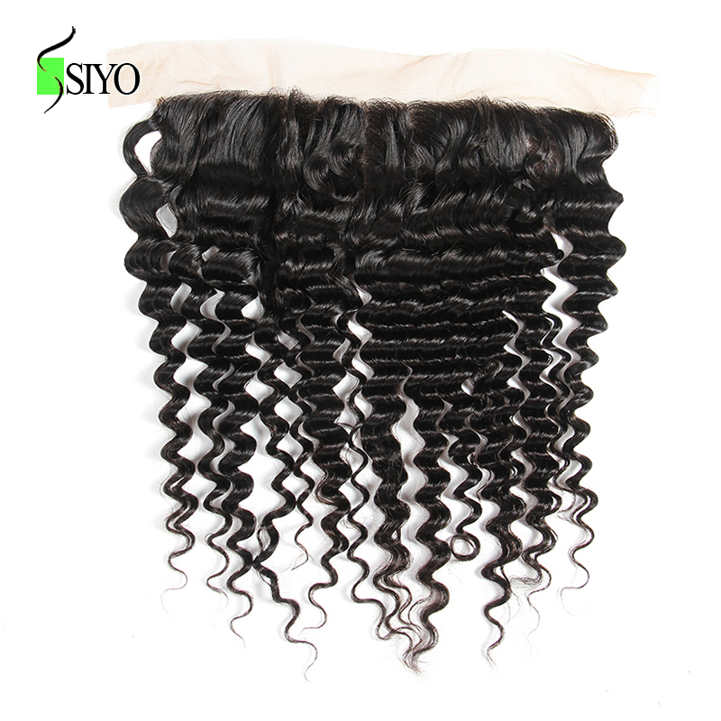 """H45294141f5584d09b074d192b799aac2f Siyo Deep Wave 3 Bundles with Frontal 8-26"""" M Remy Human Hair with 13x4 Lace Frontal Malaysian Hair Bundles with Closure"""