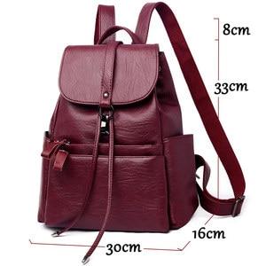 Image 5 - Fashion Women Backpack High Quality PU Leather Backpacks for Teenage Girls Female School Shoulder Bag Bagpack mochila Sac A Dos