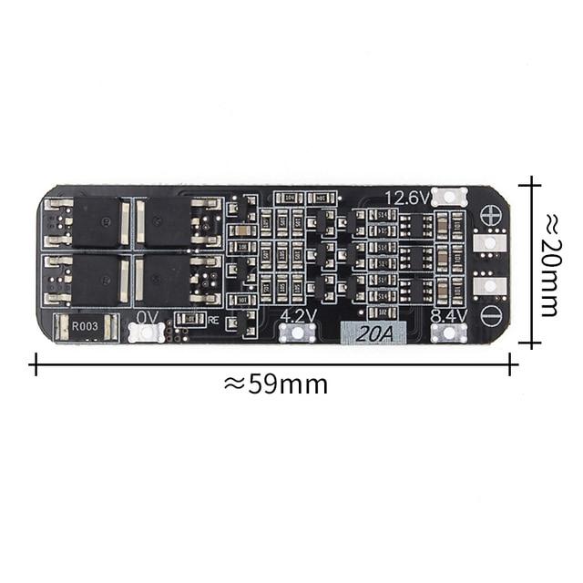 50 قطعة 3 ثانية 20A ليثيوم أيون بطارية 18650 شاحن PCB BMS لوحة حماية 12.6 فولت خلية 59x20x3.4 مللي متر وحدة
