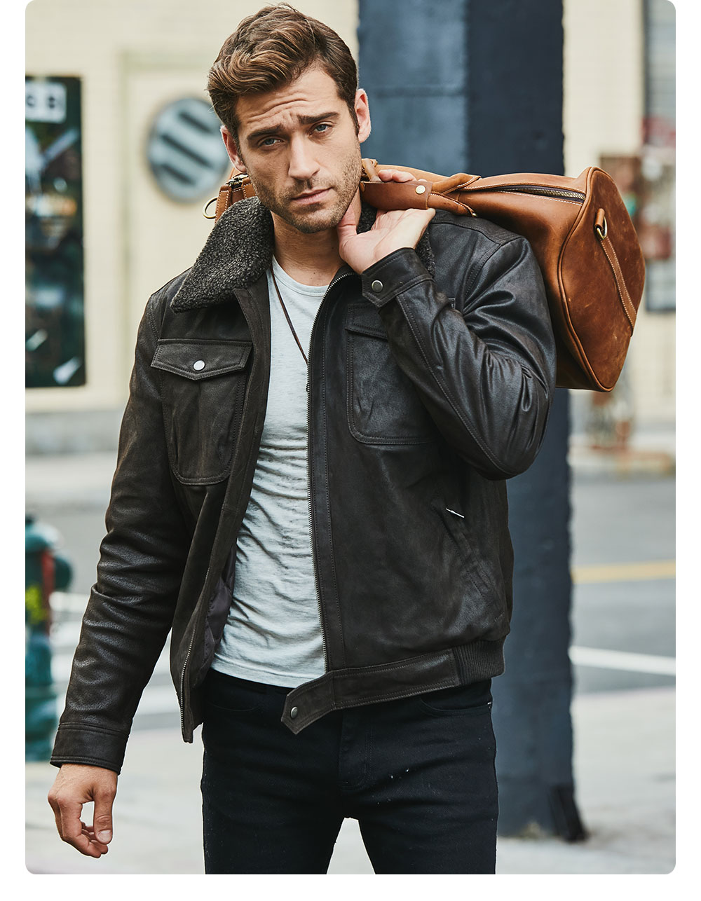 H452962f96efd40e0b02cfd97024bd68bH FLAVOR Men's Real Leather Jacket Genuine Leather jacket with faux fur collar male Motorcycle warm coat Genuine Leather Jacket