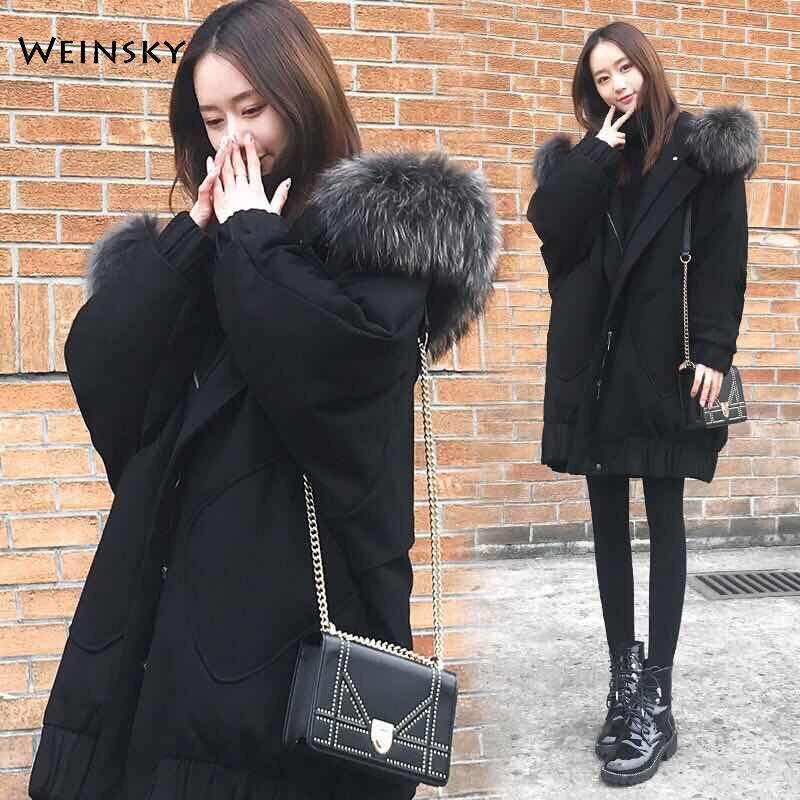 2019 New Fashion Women Winter Hooded Coat Female Long Warm Jacket Down Cotton Padded Jacket Outwear   Parkas