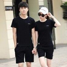 Парный Спортивный комплект для мужчин и женщин, лето, стиль, корейский стиль, Повседневный свитер, футболка с коротким рукавом, спортивная одежда
