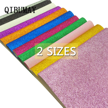 QIBUMAY 2Sizes Glitter Leather Fabric Shiny Synthetic Handmade DIY Hairbow HandBag Shoes Materials Textile Sequin