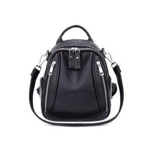 Image 2 - Fengdong mulher mini saco de couro genuíno mochila anti roubo preto pequeno bolsa de ombro de couro feminino mochila viagem menina backbag