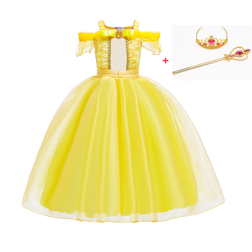 Cosplay Princess Belle Girl Dress For Halloween Party Drama Prom Christmas Costume Kids Clothes Beauty and The BeastGirls Costumes   -