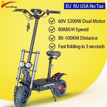 Scooter Eléctrico de 60V Ebike adultos gran rueda Patinete Electrico 2600W/3200W Escooter...
