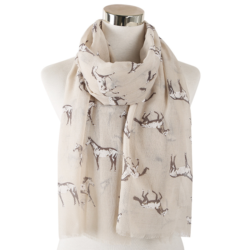 2020 Fashion Animal Horse Print Scarf Viscose Women Ladies Scarves Shawls Wraps Grey White Female Neck Scarf Stole Luxury
