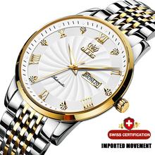 Mężczyźni mechaniczne zegarki na rękę luksusowej marki automatyczny zegarek menStainless stali nierdzewnej wodoodporny zegarek biznesowy Relogio Masculino 6630 tanie tanio OLEVS 3Bar CN (pochodzenie) Klamerka z zapięciem DRESS Samoczynny naciąg 20inch STAINLESS STEEL Automatyczna data Kompletny kalendarz