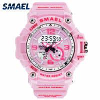 SMAEL femme montres Sports plein air montres LED horloges numériques femme armée montres militaire grand cadran 1808 femmes montre étanche