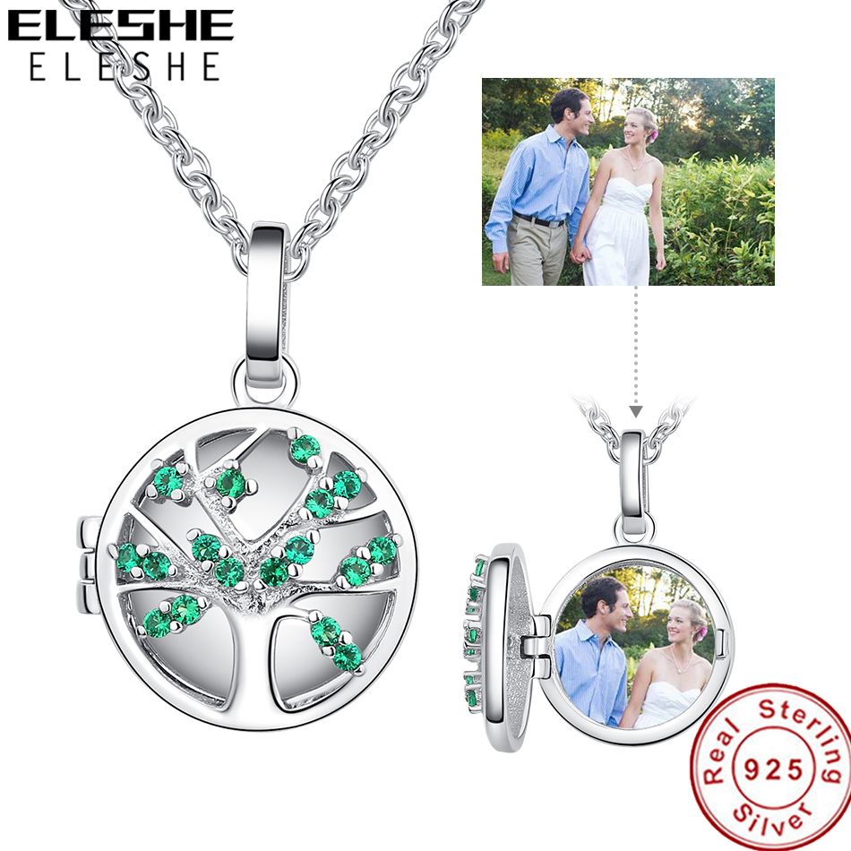 ELESHE Personalized Custom Photo Necklace Family Tree 925 Sterling Silver Customized Pendant Necklace for Women Fashion Jewelry