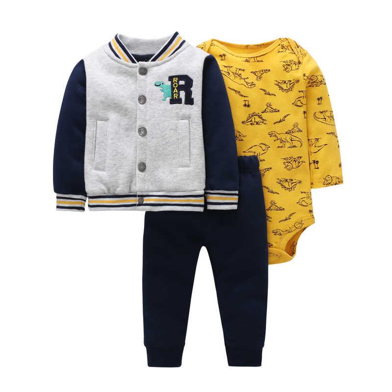 BABY BOY OUTFIT lange mouw hooded jassen + bodysuit + broek pasgeboren kostuum baby kleding 2020 lente herfst pasgeboren kleding