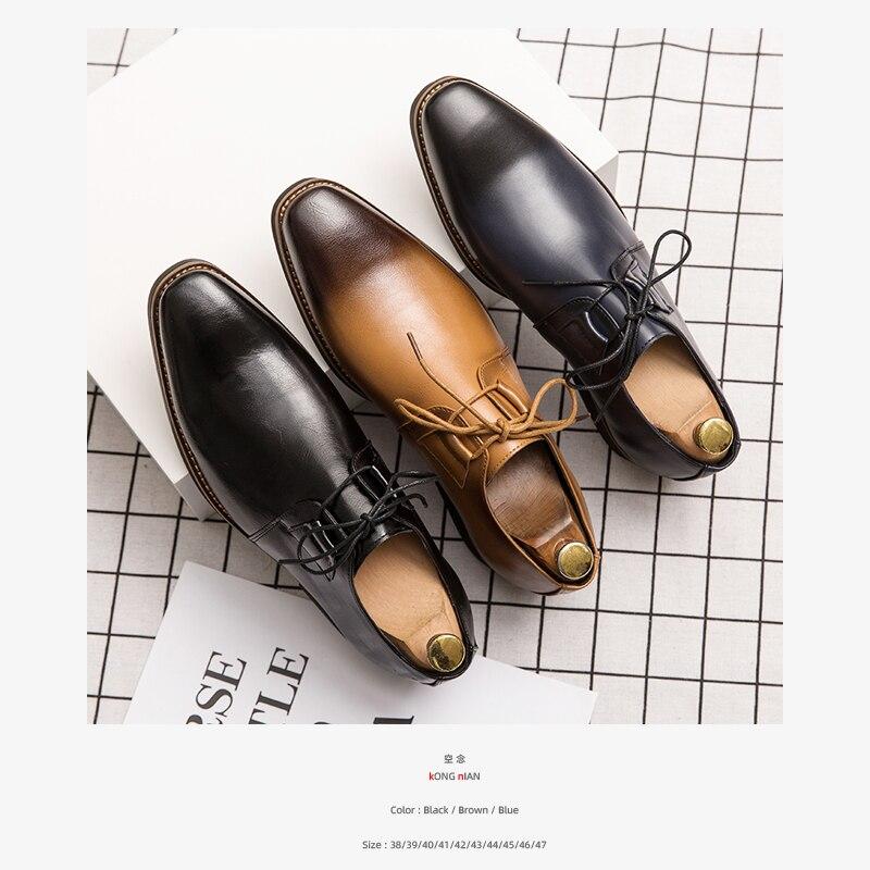 Spring Autumn Adult Men Leather Shoes Black Concise Lace-up Coach Shoes Daily Casual Men Solid Shoes 28.5CM Big Size Men Shoes