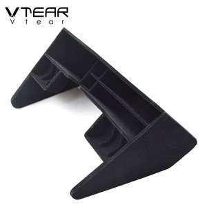 Image 3 - Vtear for Skoda Kodiaq car storage box Central Control Tray Holder Stowing tidying Interior Mouldings styling accessories 2019
