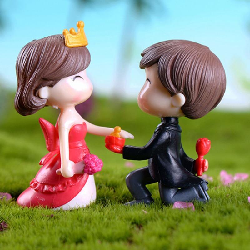 Resin Cartoon Miniature Craft Fairy Garden Lovers Romantic Wedding Miniature Statues Mini Ornament