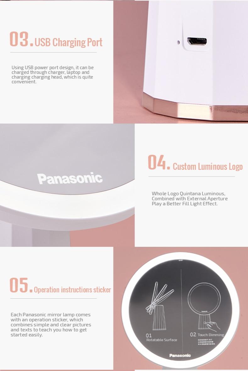 Panasonic  LED Mirror Makeup Mirror with Led Light Vanity Mirrors Rotating Cosmetic Miroir 5X Magnifying Mirrors Light Espejo 3