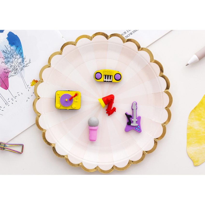 5pcs Mini Creative Party Musical Instrument Series Rubber Set Kawaii Pencil Eraser Suit For Kids