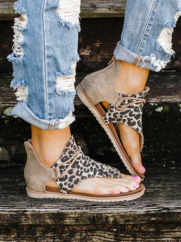 Sandals Wedges Summer Shoes Anti-Slip Seller-Women Leopard-Pattern Large-Size Hot-Selling