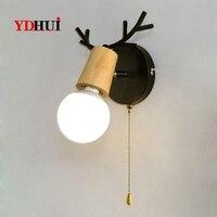 Nordic criativo lâmpada de parede cabeceira simples escada corredor lâmpadas cabeça veado quarto sala estar luzes parede