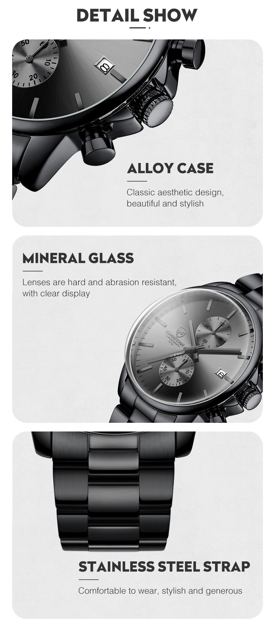 New CHEETAH Men Watch Luxury Brand Business Black Quartz Watches Mens Waterproof Chronograph Sport Wristwatch Date Male Clock