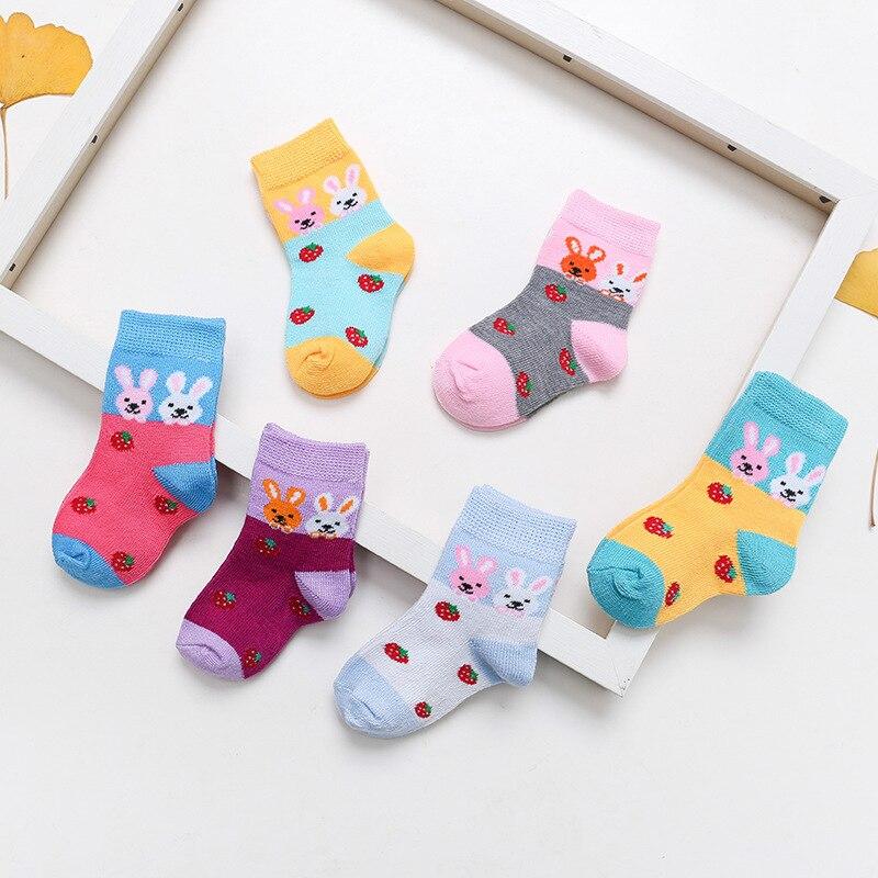 1PC Children's Socks Four Seasons Cotton Cartoon Embroidery Small White Rabbit Baby's Socks Coloured Permeable Stockings