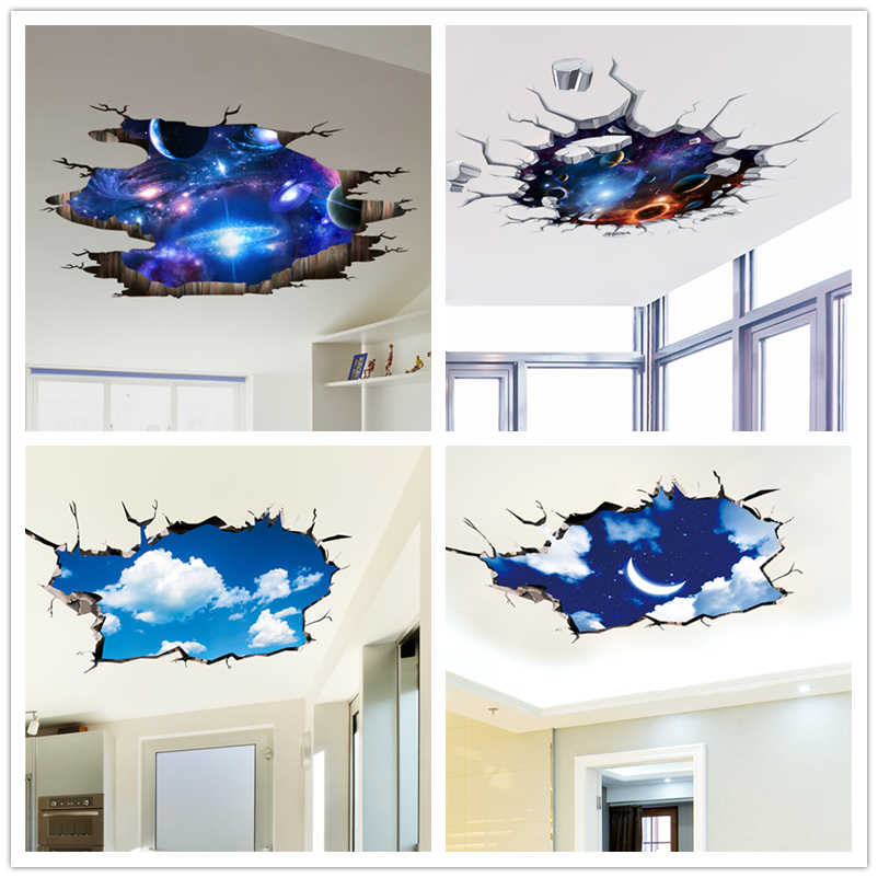 [SHIJUEHEZI] Outer Space Wall Stickers Cosmic Galaxy Planet Mural Decals for House Kids Room Baby Bedroom Ceiling Decoration
