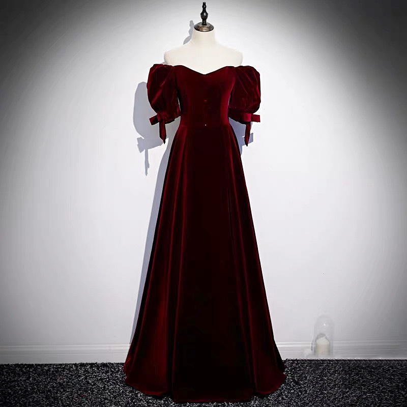 Sexy Burgundy Bridesmaid Dress  Long Off The Shoulder Velvet   Maid Of Honor Gowns Formal Wedding Guest Party Dresses For Women