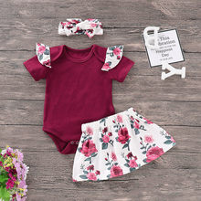 Newborn Baby Girls Clothes Toddler Infant Playsuit Romper Floral Skirts Headband Outfit 3pcs Set Summer Children Party Outfits(China)