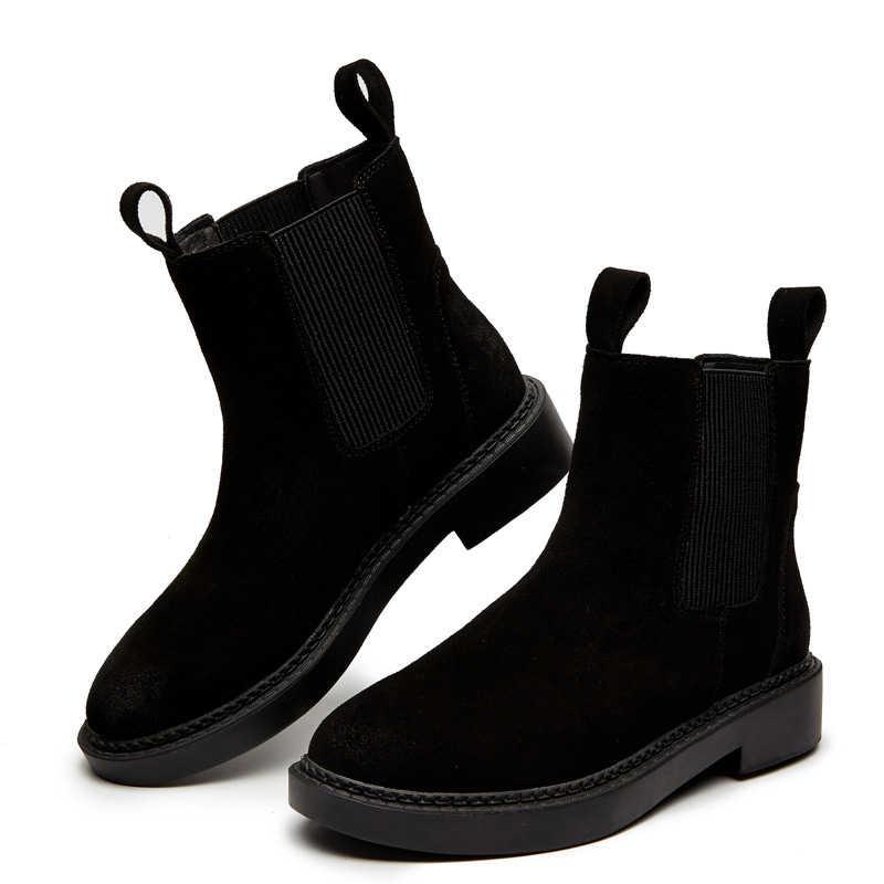 เชลซีรองเท้าผู้หญิงของแท้หนังฤดูหนาวรองเท้าข้อเท้าสั้น PLUS ขนาดแพลตฟอร์มแฟลตเดี่ยว Martin รองเท้าผู้หญิง