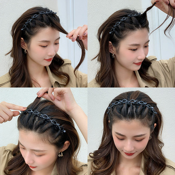 AWAYTR Unisex Alice Hairband Headband Men Women Sports Hair Band Hoop Metal Hoop Double Bangs Hairstyle Hairpin Hair Accessories 3