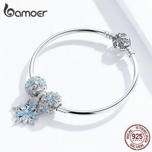 Image 3 - Bamoer oryginalna 925 Sterling Silver zima Snowflake księżniczka bransoletka dla kobiet Charm bransoletka luksusowe europejskiej Bijoux SCB833