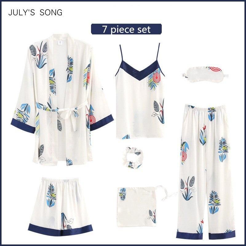 JULY'S SONG Women's Faux Silk Soft 7 Pieces Pajamas Sets Sleepwear Printing Spring Summer Sling Shorts Autumn Homewear Pyjamas