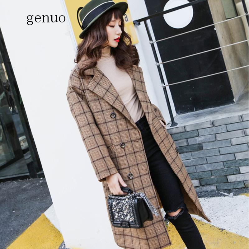 Women's Turn Down Collar Plaid Wool Blends 2020 Autumn Winter Double Breasted Overcoat Fashion Medium Long Female Coats