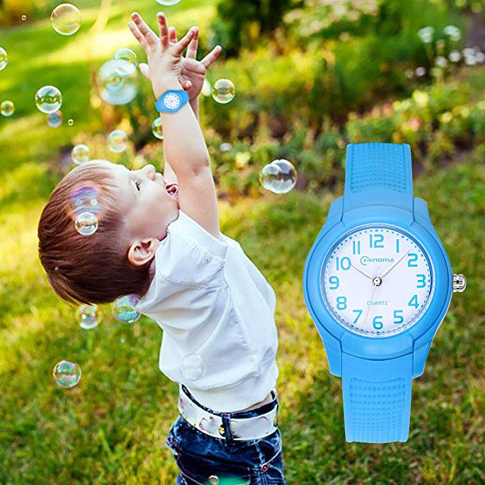 Kids Cute Watches Waterproof Flowers Diamond  Round Dial Soft Silicone Strap Quartz Watch Sport Bracelet For Kids Girls Electron
