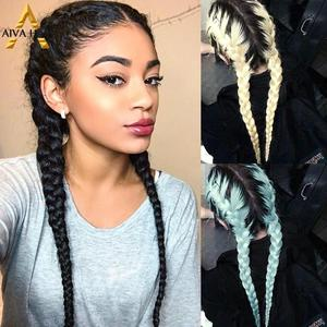 Aiva Hair High Temperature Synthetic Lace Front Wig Middle Part Black Box Braid Wig With Baby Hair Long Braided Wigs For Women(China)