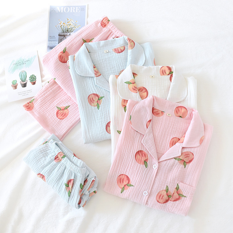 Women Spring And Autumn Long Sleeve Cotton Pajamas Peach Printing Soft Pijama Mujer Plus Size Loungewear Maternity Set Clothes
