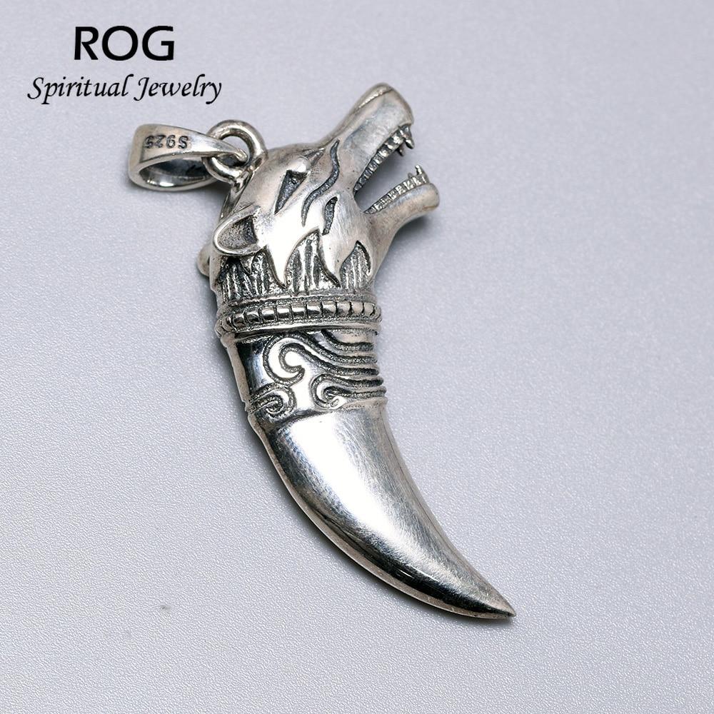 Thai argent loup dent pendentif véritable 925 en argent Sterling colliers pendentifs pour hommes Steampunk style Vintage hommes bijoux