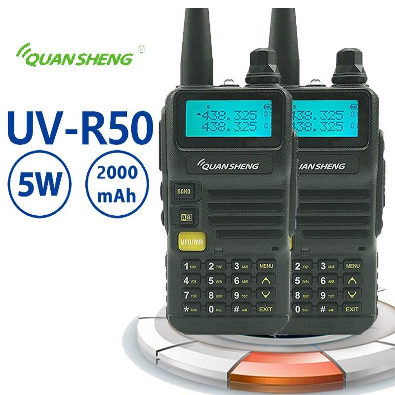 2PCS Quansheng UV-R50 Walkie Talkie 5W 2800mAh VHF UHf Transceiver Walky Talky Professional Mini Walkie Talkie Radio  Portophone