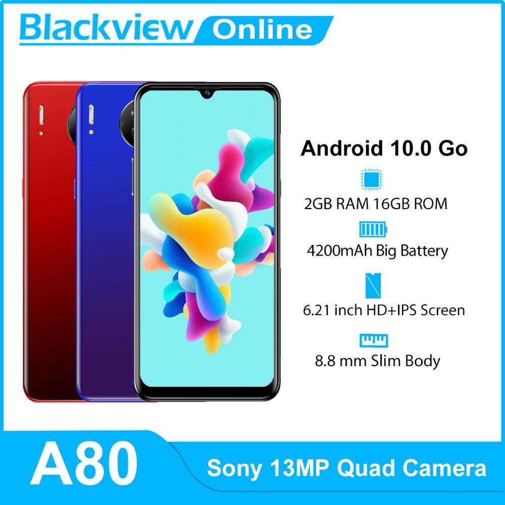 Blackview A80 Android 10 Go 4G Mobile Phone 2GB+16GB 6.21'' Waterdrop 13MP Quad Rear Camera Smartphone 4200mAh Cellphones