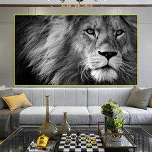 Современное животное черно белый лев тигр живопись Гостиная