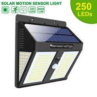 250 LED de luz Solar para exteriores, lámpara Solar alimentada con energía Solar, luz de calle con Sensor de movimiento PIR impermeable para la decoración del jardín