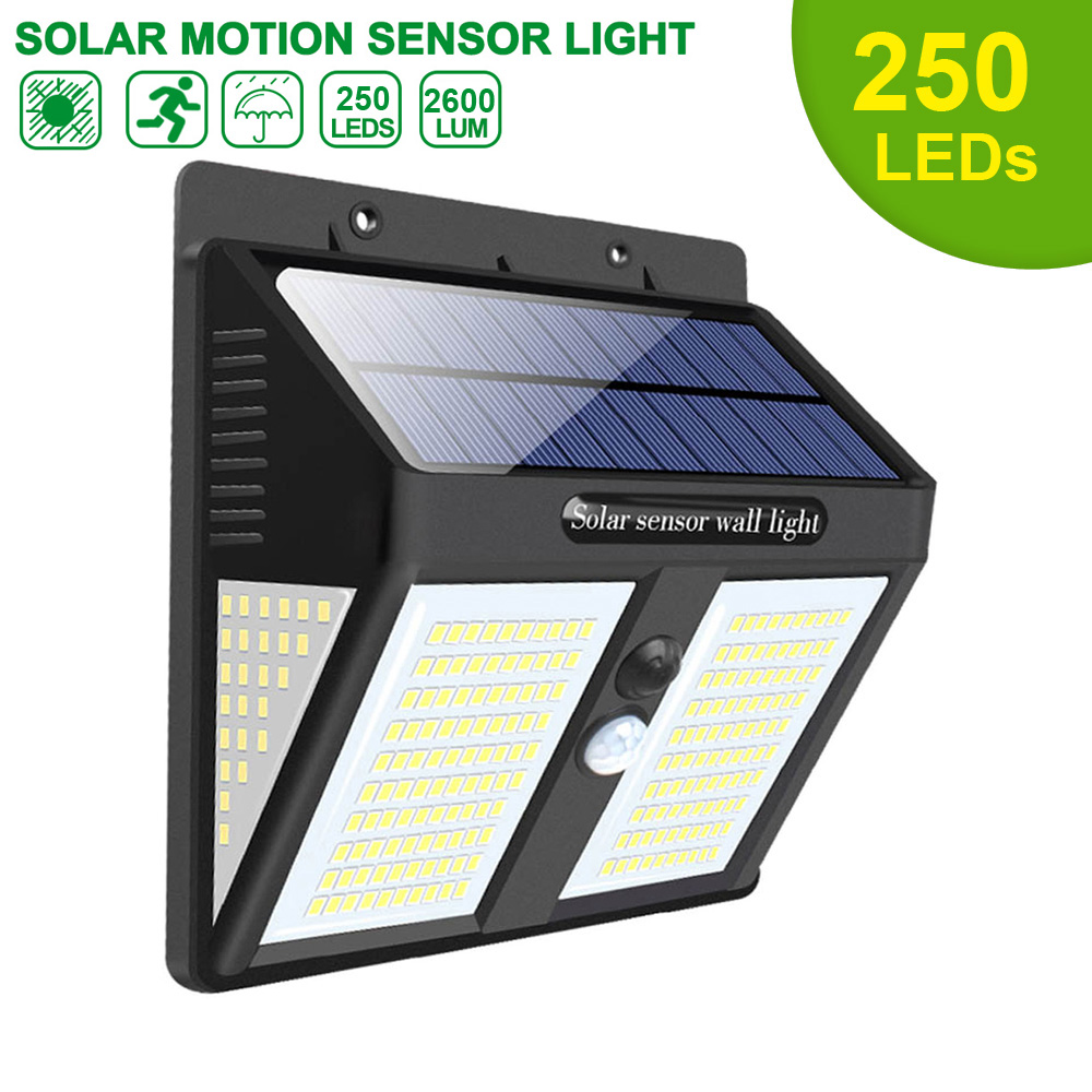 250 LED Solar Light Outdoor Solar Lamp Solar Powered Sunlight Waterproof PIR Motion Sensor Street Light for Garden Decoration