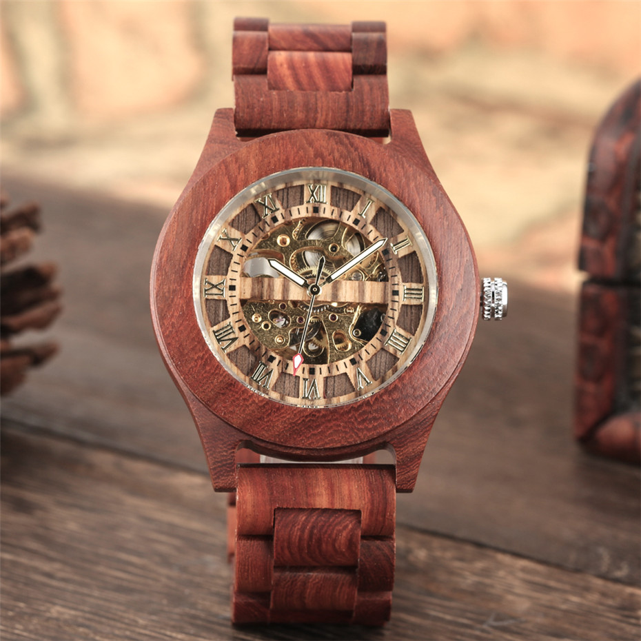Self Winding Mechanical Wood Watch Roman Numerals Display Gold Skeleton Dial Stylish Men's Watches High Quality Wooden Bangle|Mechanical Watches| |  - title=