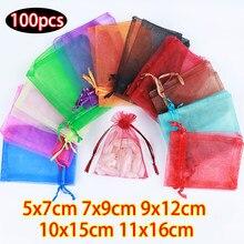 100 pièces 5x7 7x9 9x12 10x15 cm pochette de mariage avec cordon de serrage sacs cadeaux sac en Organza pour exposition d'emballage de bijoux