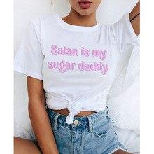 Fashion Tops Tee Satan Is My Sugar Daddy Tumblr Girls Shirt