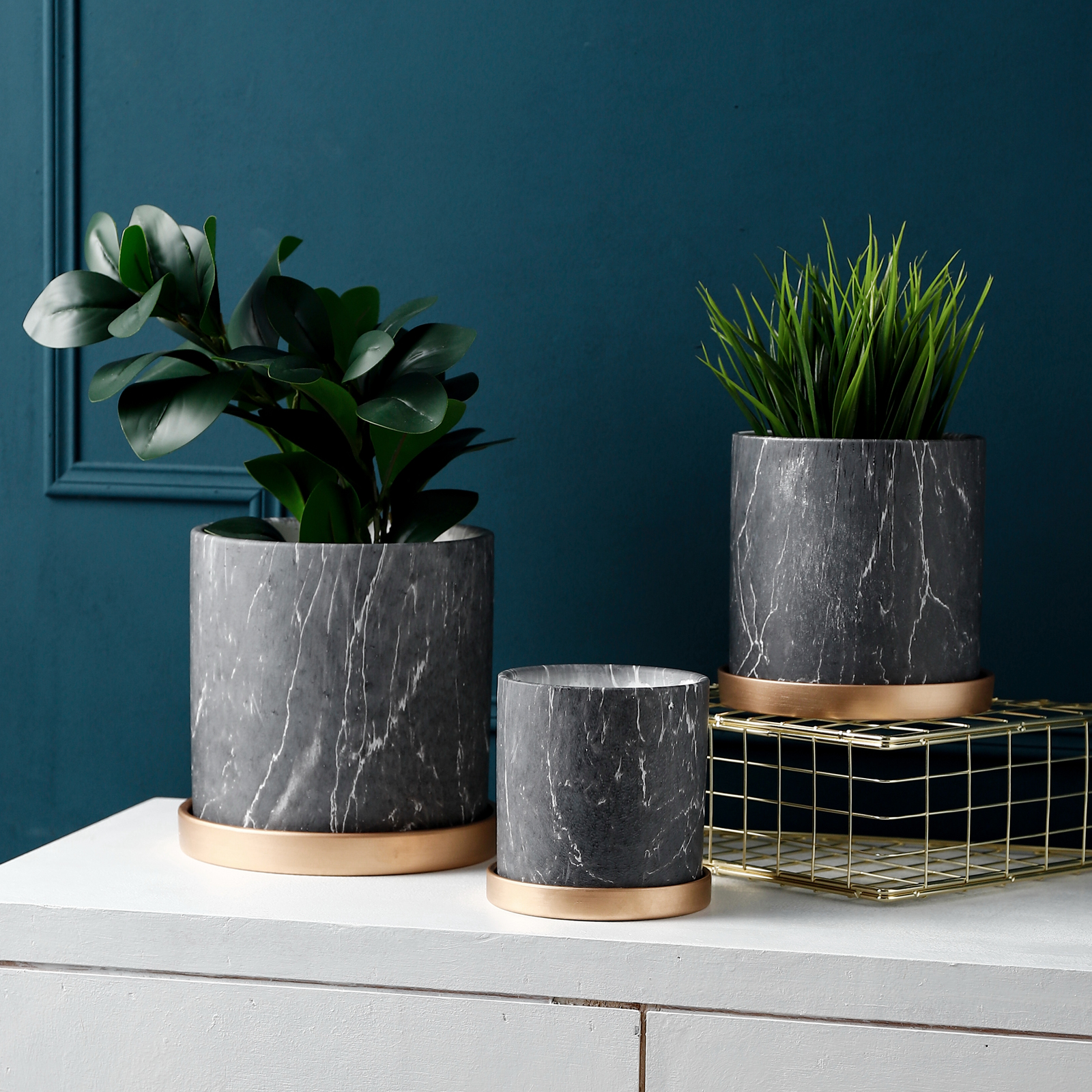 Ceramic Vase Marble Flower Pot Home Decoration Modern Minimalist Nordic Style Straight Flower Pot With Tray