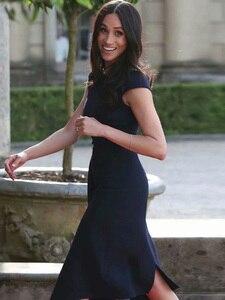 Image 5 - Kate Middleton même Station T, robe mi longue Sexy pour femmes bleu foncé, asymétrique, asymétrique, tenue de fête, nouvelle collection été 2020