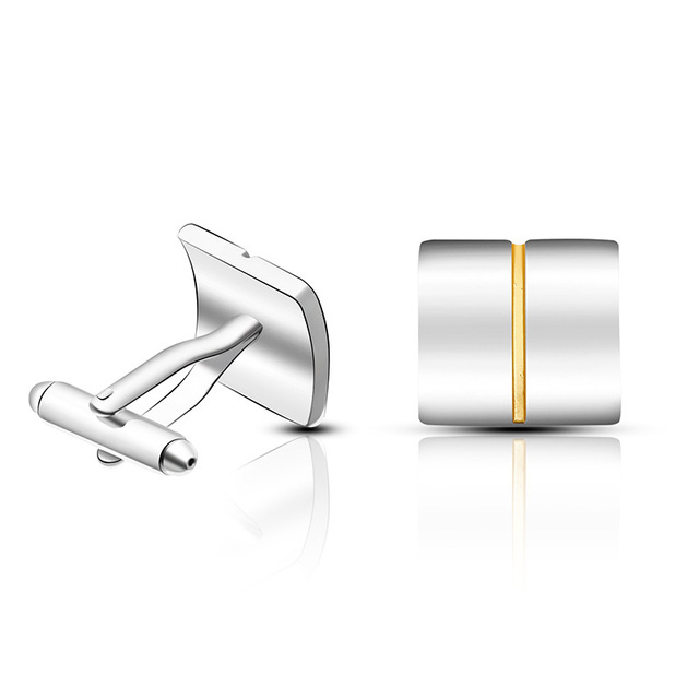 High-quality Simple Square Golden Lines Cufflinks 1