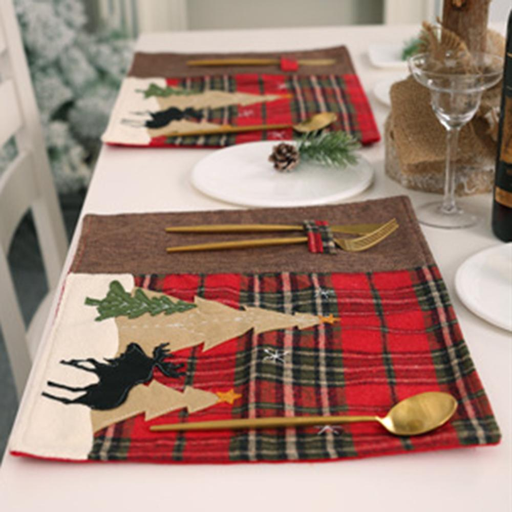 Christmas Theme Plaid Tree Elk Pattern Heat Insulation Fork Placemat Table FG